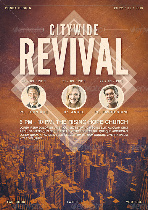 citywide revival flyer  poster template by ponda
