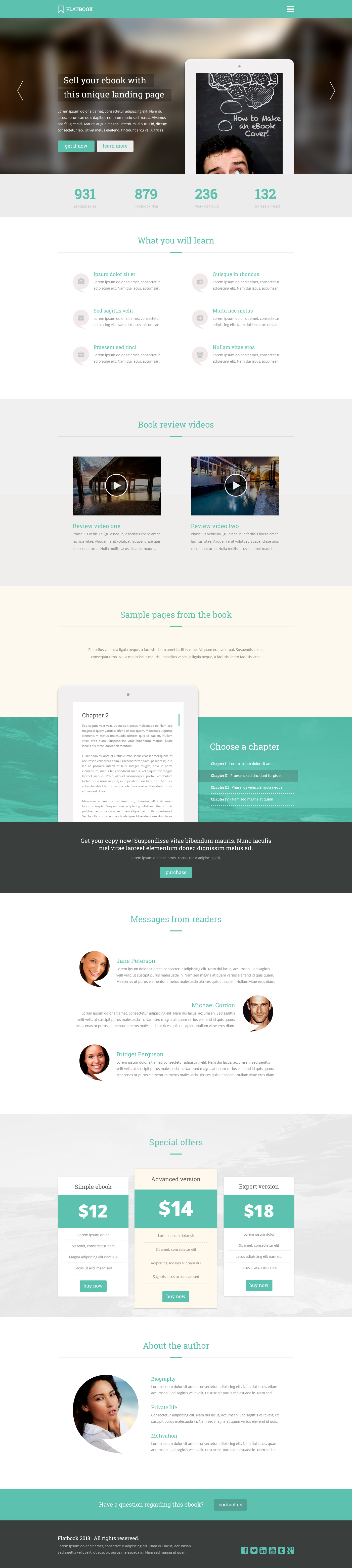 FlatBook - Flat Ebook & App Selling Psd Template