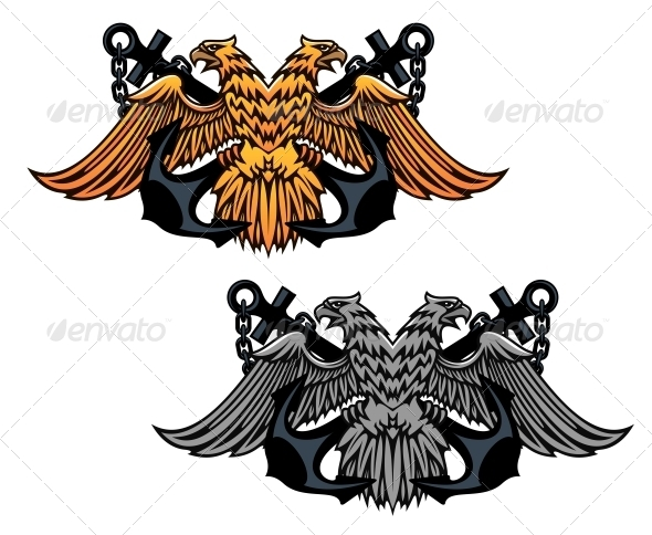 Double Head Eagle with Vintage Anchor - Tattoos Vectors