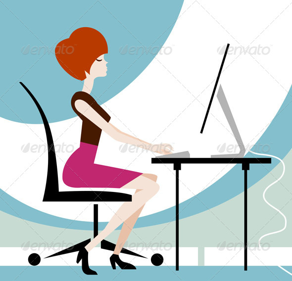 GraphicRiver Young Woman Typing on Desktop Computer 5566301