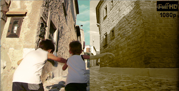 VideoHive Two Kids Running in Old Street 5566689