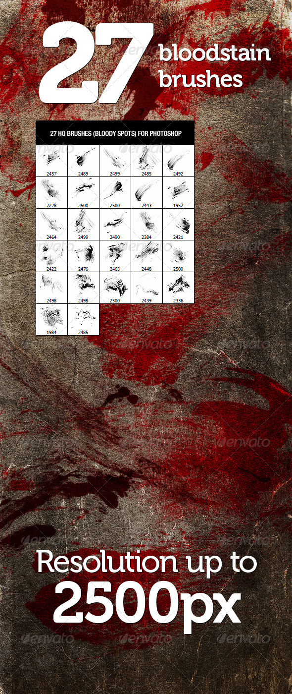 27 Bloodstain Photoshop Brushes - Brushes Photoshop