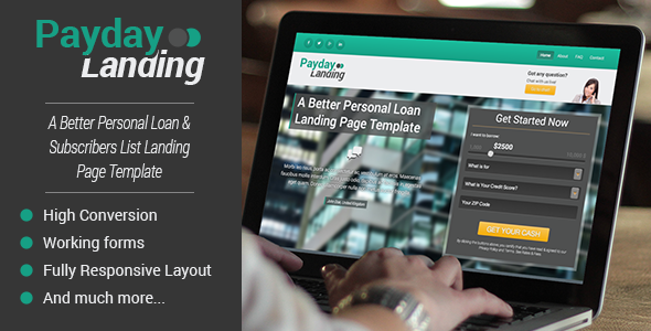ThemeForest Payday Converting Loan & List Builder Landing Page 5533539
