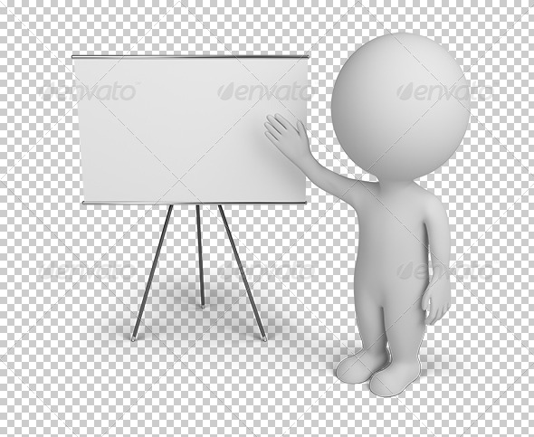 GraphicRiver 3D small people with empty board 5567024