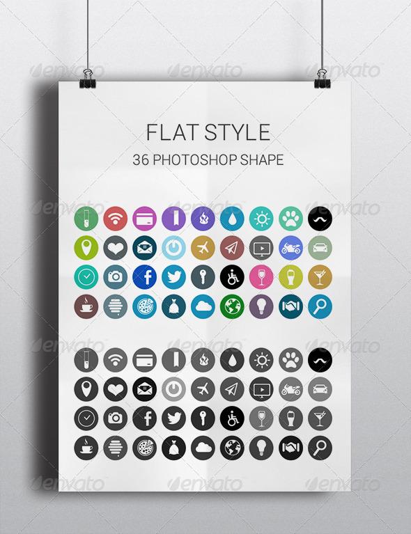 GraphicRiver Flat Icon Photoshop Shape 5567572