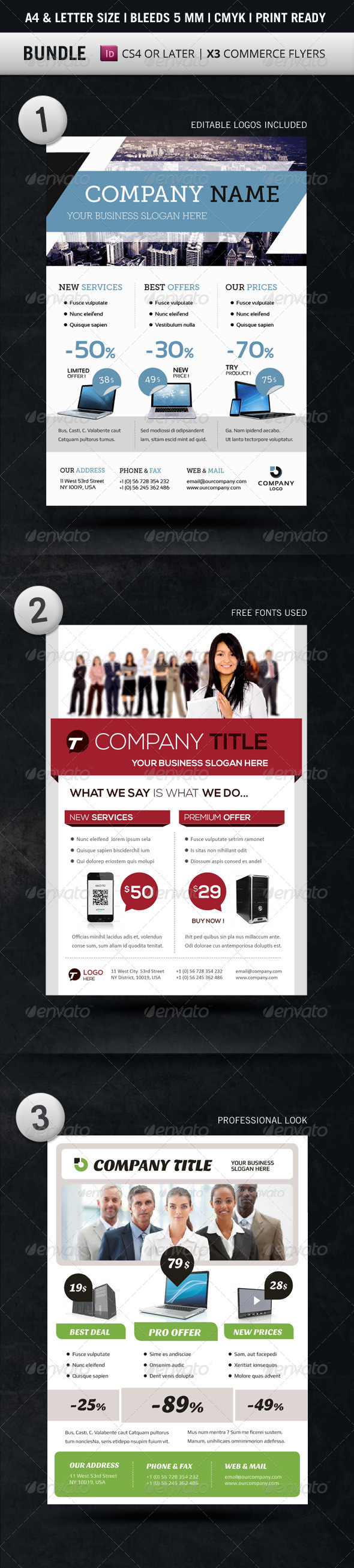 Bundle Business Flyer Templates A4 & Letter