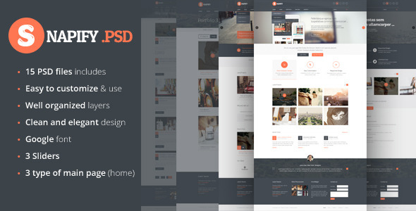 ThemeForest Snapify clean and modern PSD Template 5567702