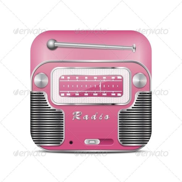 GraphicRiver Pink Retro Radio Icon 5567755