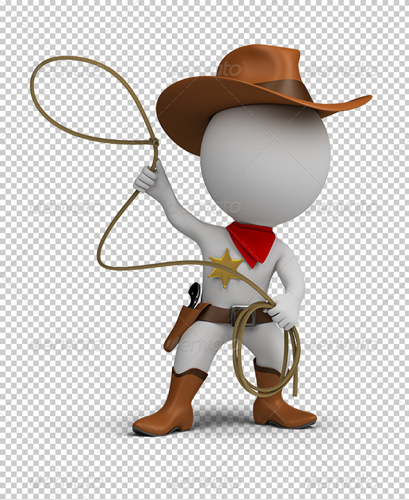 GraphicRiver 3D small people cowboy 5567757