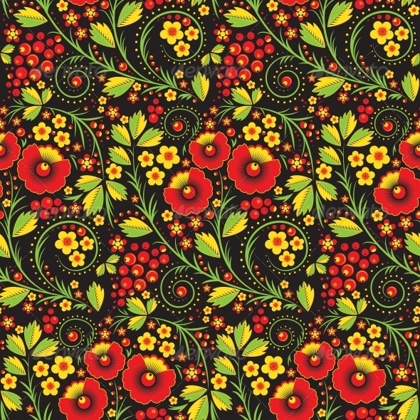 GraphicRiver Hohloma Seamless Pattern 5567807