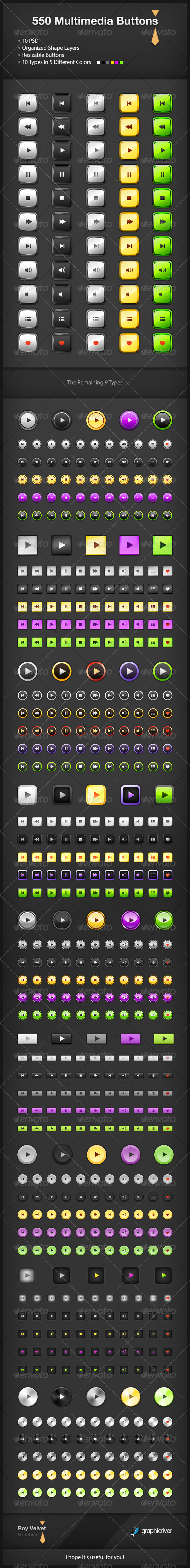 GraphicRiver 550 Multimedia Buttons 5567808