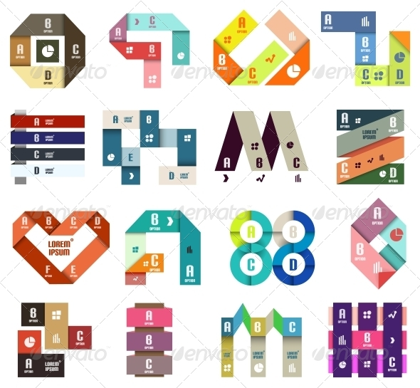 Set of Origami Modern Design Templates - Web Elements Vectors