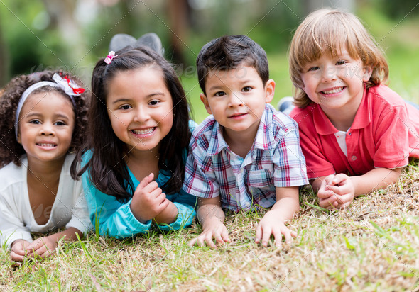 Happy group of kids - Stock Photo - Images
