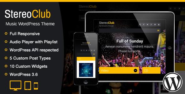 ThemeForest StereoClub Music WordPress Theme 5563892
