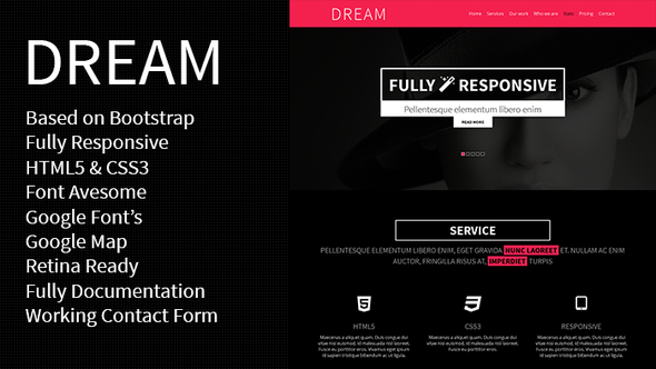 ThemeForest DREAM One Page Responsive Template 5569241