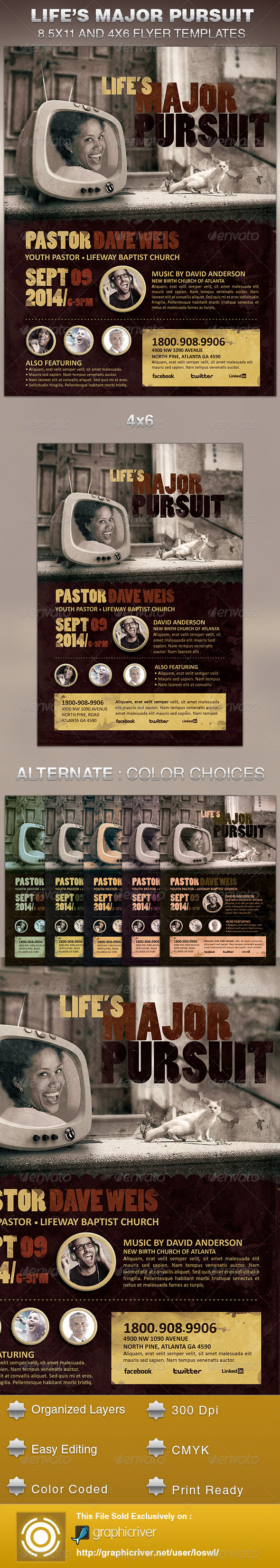 GraphicRiver Life s Major Pursuit Church Flyer Template 5569339
