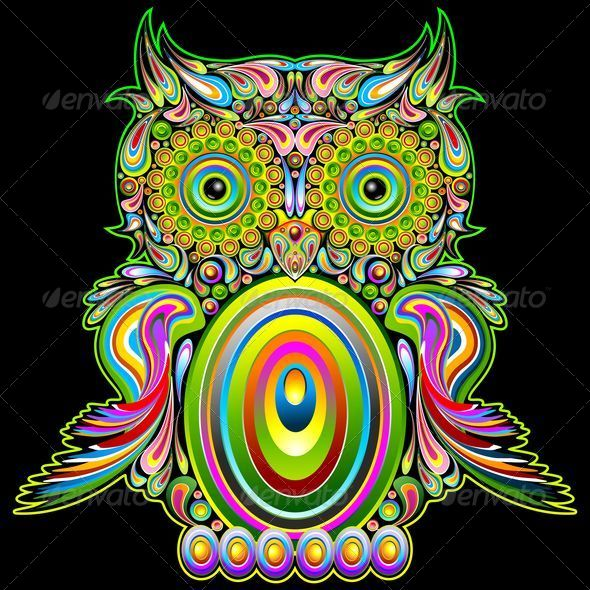 Owl Psychedelic Pop Art | GraphicRiver