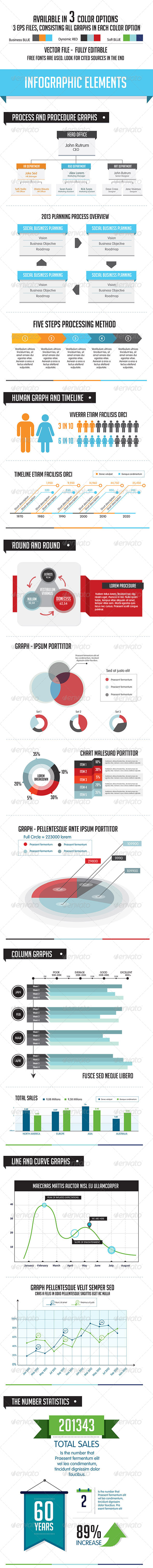 GraphicRiver Business Infographic Elements 3 Color Choices 5570199