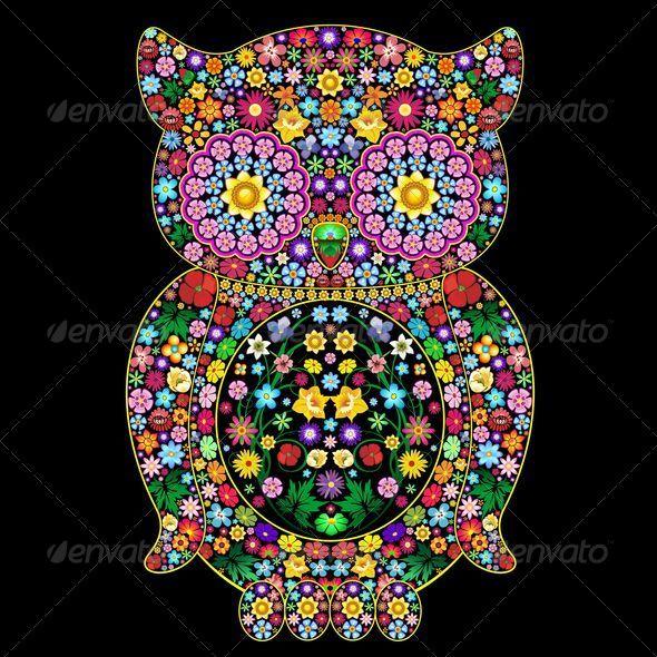 GraphicRiver Owl Flowers Ornamental Art Design 5570230