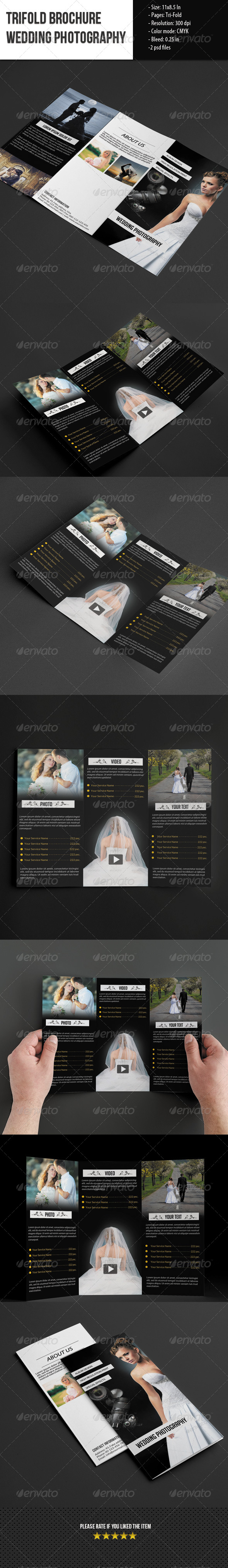 GraphicRiver Trifold Brochure for Wedding Photography 5570547