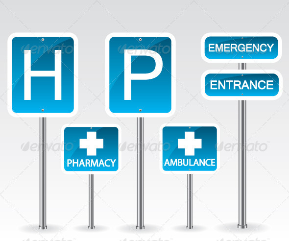 GraphicRiver Hospital Road Sign 5570693