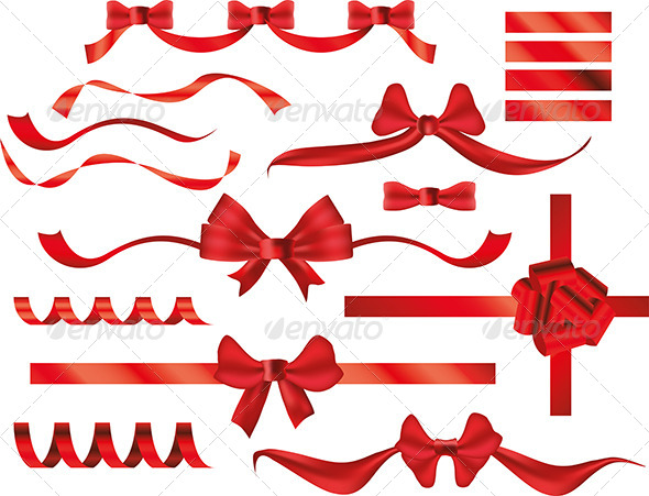 GraphicRiver Red Bows and Ribbons 5570860
