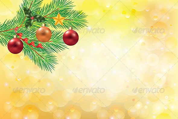 GraphicRiver Golden Christmas Background with Fir-Tree Branch 5570869
