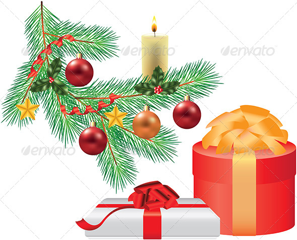 GraphicRiver Christmas Tree Branch with Decorations and Gift 5570886