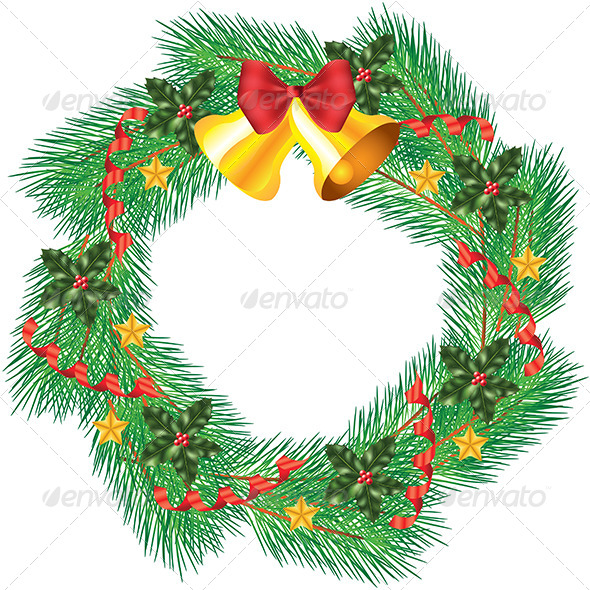 GraphicRiver Christmas Wreath with Jingle Bells 5570908