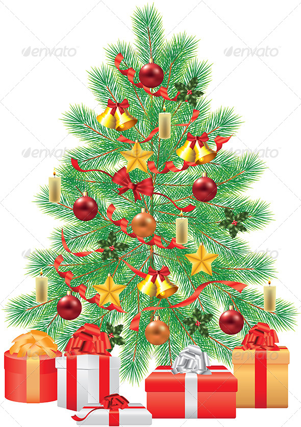 GraphicRiver Green Fir-Tree with Decorations 5570987