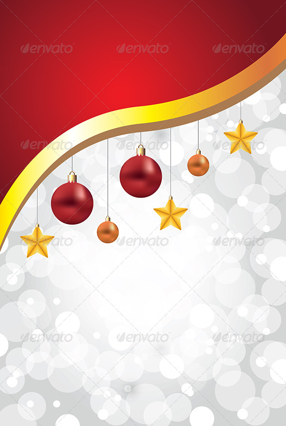 White Christmas Background with Balls and Stars