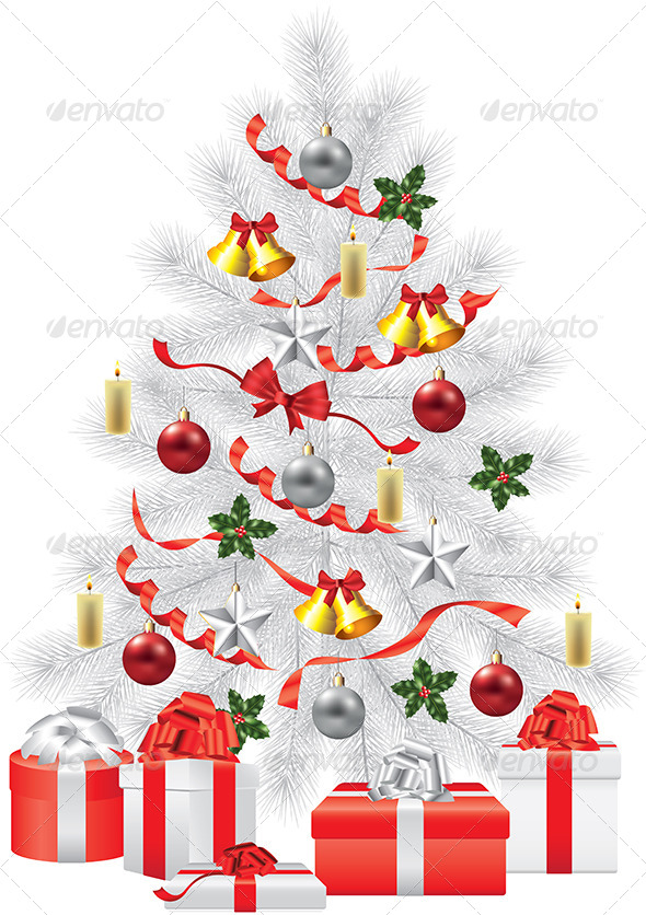GraphicRiver White Fir-Tree with Decorations 5571023