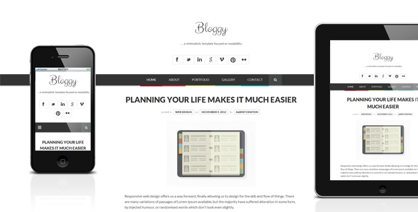 Bloggy - Responsive Minimalist Template - Creative Site Templates