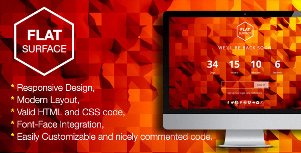 ThemeForest Flat Surface Responsive 404 Error HTML5 Template 5552500
