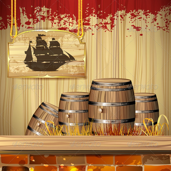 GraphicRiver Pirate Ship over Wood Banner 5572134