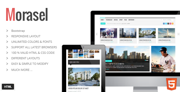 ThemeForest Morasel Responsive News and Magazine HTML Theme 5564278