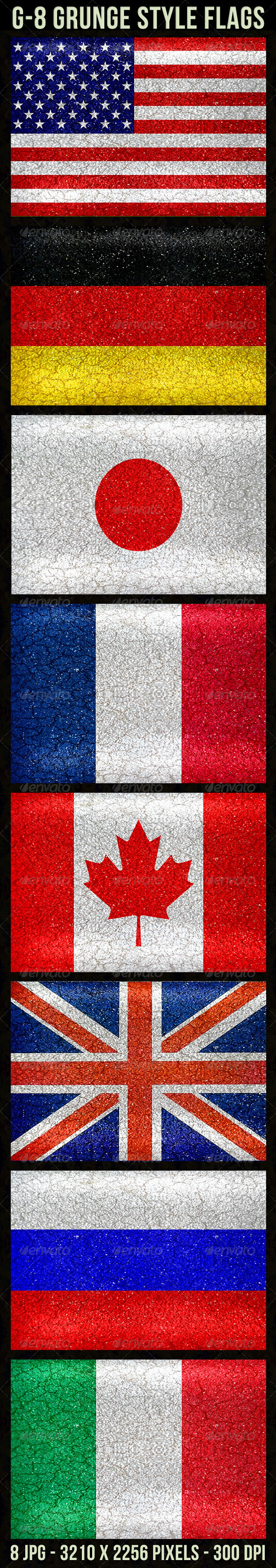 GraphicRiver G-8 Grunge Style Flags 5573257