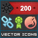 200 Vector Icons Set - GraphicRiver Item for Sale