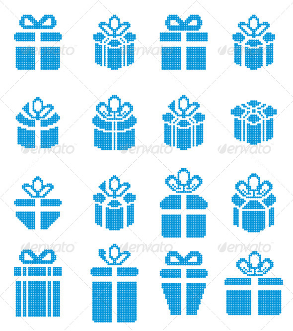 GraphicRiver Gift Box Pixel Icons Holiday Presents 5573532
