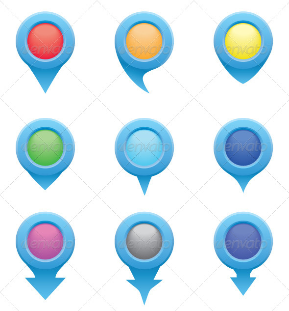 GraphicRiver Set of Blue Circle Pointers in the Color 5573619