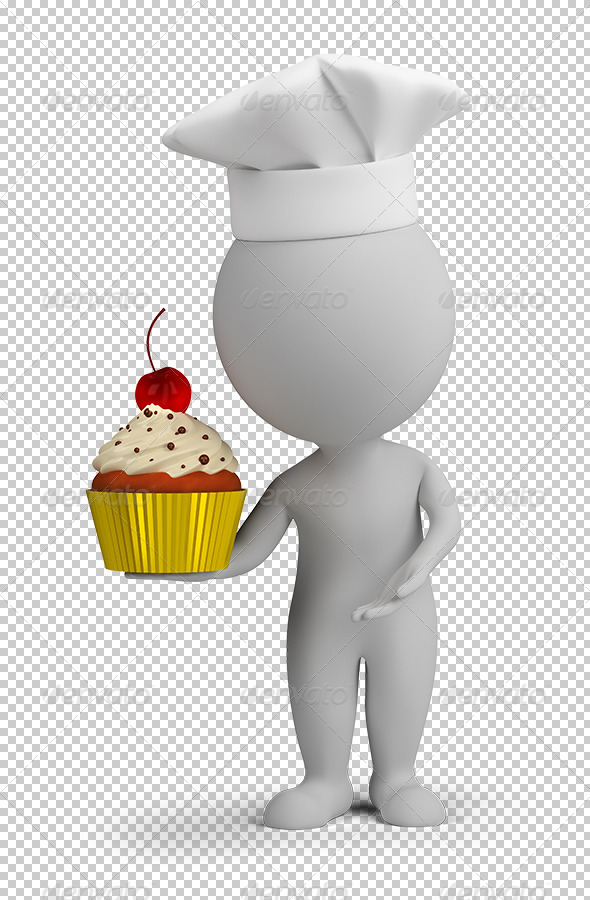 GraphicRiver 3D Small People Confectioner with Cupcake 5576393