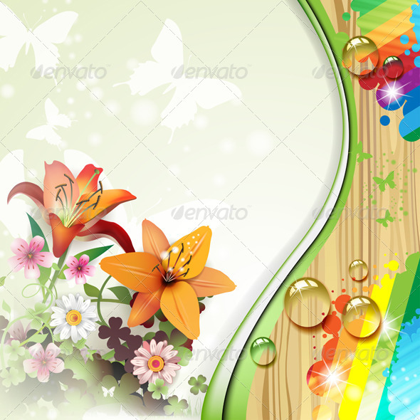 GraphicRiver Wood Background with Lilies 5576762