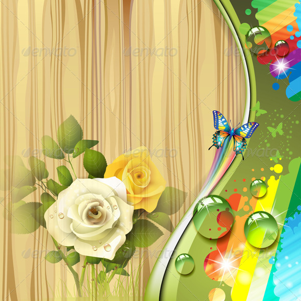 GraphicRiver Wood Background with Roses 5576769
