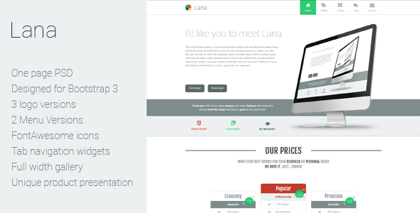 Lana is a one page PSD template with multiple logos to choose from, 2 menu styles, one with icons from font awesome and a simple plain text version , and a blog