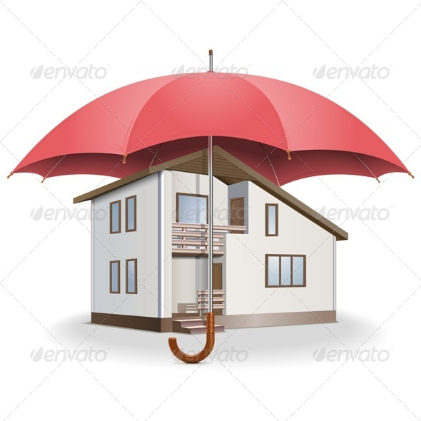 GraphicRiver Vector Umbrella and House 5576981