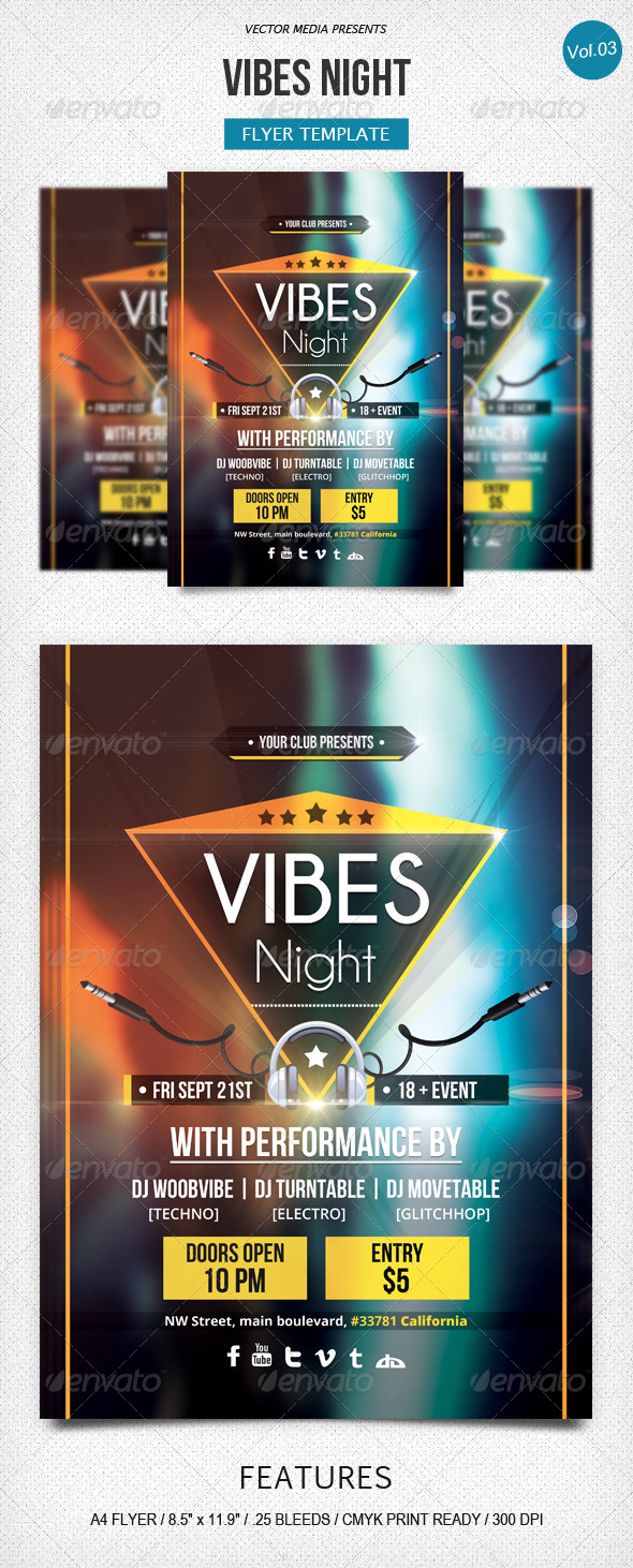 GraphicRiver Vibes Night Flyer [Vol.3] 5577169