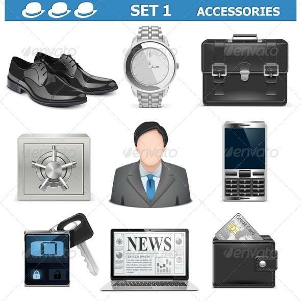GraphicRiver Vector Male Accessories Set 1 5577270