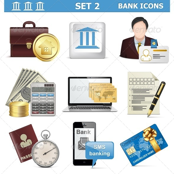 GraphicRiver Vector Bank Icons Set 2 5577309
