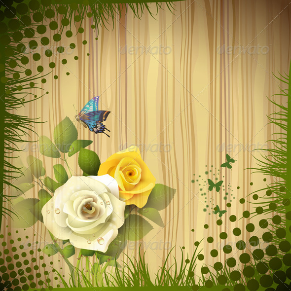 GraphicRiver Wood Background with Roses 5577425