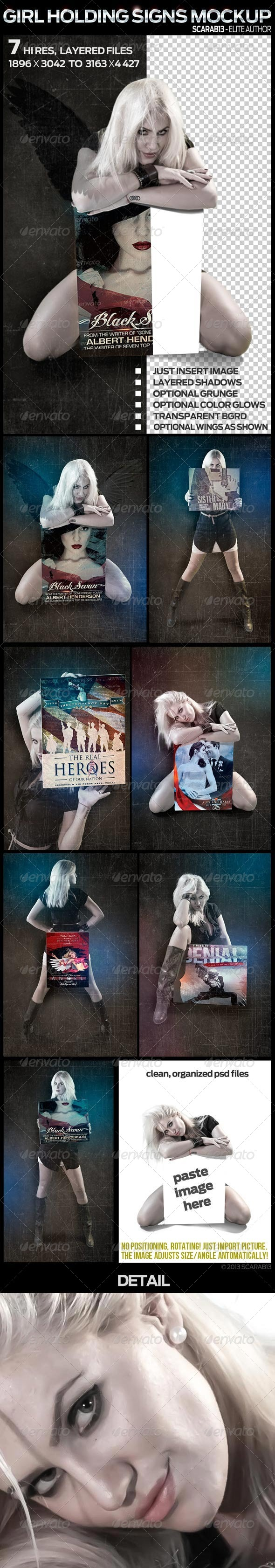 7 Mockups of a Girl holding a Sign - Signage Print